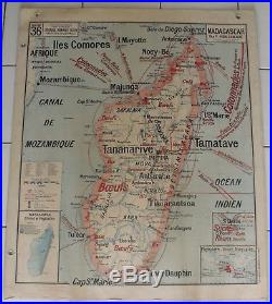 Carte Scolaire Ancienne-Vidal-Lablache INDOCHINE / MADAGASCAR