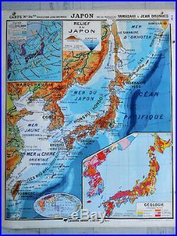 Carte Scolaire Ancienne et Rare Hatier Océanie et Japon collection Jean Brunhes