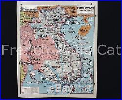Carte Scolaire vintage MADAGASCAR INDOCHINE Physique 36 Lablache Décoration R111