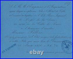Carte d'invitation à la fête offerte à l'occasion du baptême du Prince Impérial