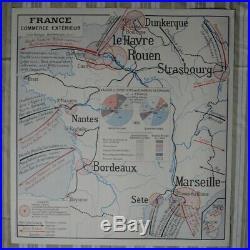 Carte de France scolaire ancienne lot de 3 géographie Rossignol