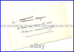 Carte de visite d'Octave Uzanne à son ami Félicien Rops Bibliophilie Zadig Reliu