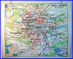 Carte ecole murale scolaire school map VIDAL LABLACHE n°24 PARIS et ENVIRON
