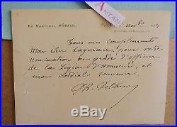 Carte lettre autographe Maréchal PETAIN Laguionie Officier Légion d'Honneur LAS