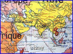 Carte murale ecole scolaire school map PLANISPHERE n°22 VIDAL LABLACHE