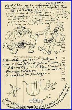 Carte postale avec dessin signée André Rouveyre