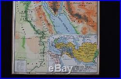 Carte scolaire EGYPTE PALESTINE Ancienne HATIER 46 Jérusalem Tribus Ecole 1,21m