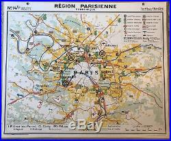 Carte scolaire Hachette type Vidal Lablache Bassin Parisien / Région Parisienne