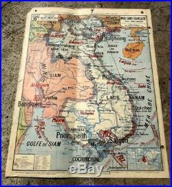 Carte scolaire Vidal Lablache Madagascar Indochine N 36 118 x 98