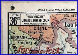 Carte scolaire Vidal Lablache Madagascar Indochine N 36 Vintage École