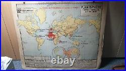 Carte scolaire Vidal Lablache n°22 Planisphère Empire Français