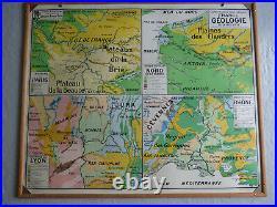 Carte scolaire Vidal Lablache n°39 France Géologie en cadre bois rigide TBE