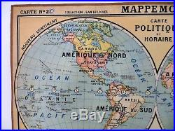 Carte scolaire ancienne Mappemonde Jean Brunhes Planisphère type Vidal Lablache