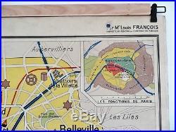 Carte scolaire ancienne Paris et Bassin Parisien Hachette type Vidal Lablache