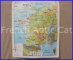 Carte scolaire ancienne Varon 101 France Relief et Structure montagne géologie