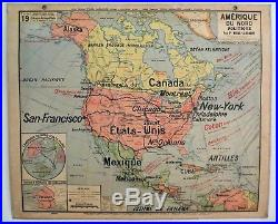 Carte scolaire ancienne Vidal Lablache 19 Amérique du Nord Politique vers 1910