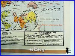 Carte scolaire ancienne Vidal Lablache 22 Planisphère La Communauté