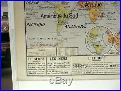 Carte scolaire ancienne Vidal Lablache 22 Planisphère Union Française