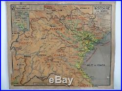 Carte scolaire ancienne Vidal Lablache 45 Delta du Tonkin Indochine du Nord