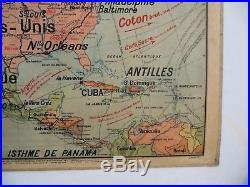 Carte scolaire ancienne Vidal Lablache Amérique du Nord Politique Mézières 1912