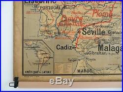 Carte scolaire ancienne Vidal Lablache Espagne Portugal Tirage 1 Mézières 1894