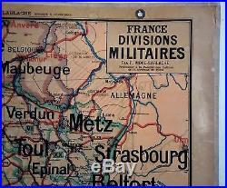 Carte scolaire ancienne Vidal Lablache France Nord-Est Divisions Militaires