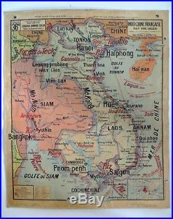 Carte scolaire ancienne Vidal Lablache Indo-Chine Française Madagascar Indochine