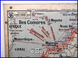 Carte scolaire ancienne Vidal Lablache Madagascar Indo-Chine Française Indochine