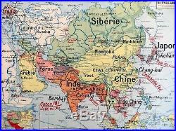 Carte scolaire ancienne Vidal Lablache n°15 Asie Politique