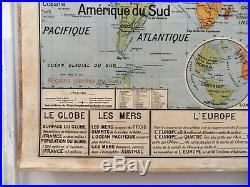 Carte scolaire ancienne Vidal Lablache n°22 Planisphère Union Française