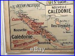 Carte scolaire ancienne Vidal Lablache n°37 Ouest Afrique Antilles Mézières 1905