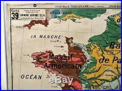 Carte scolaire ancienne Vidal Lablache n°39 France Géologie