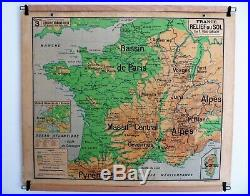 Carte scolaire ancienne Vidal Lablache n°3 France Relief du Sol