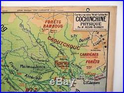 Carte scolaire ancienne Vidal Lablache n°40 Cochinchine Indochine Armand Colin