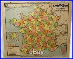 Carte scolaire ancienne Vidal Lablache n°4 France Départements