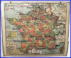 Carte scolaire ancienne Vidal Lablache n°5 France Villes