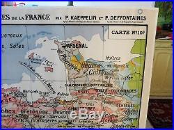 Carte scolaire murale ancienne Bretagne et Vendée Kaeppelin type Vidal Lablache