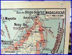 Carte scolaire murale ancienne Vidal Lablache Madagascar / Indochine