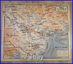 Carte scolaire vidal lablache Numero 45 Delta Du Tonkin Indochine Nord