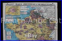 Carte scolaire vintage FRANCE mineral industrie géologie mines charbon Hatier