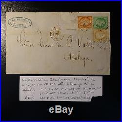 Cérès N°20/38/55 Lettre Rebuts R Bleu Pour Malaga Espagne Signé Roumet Baudot