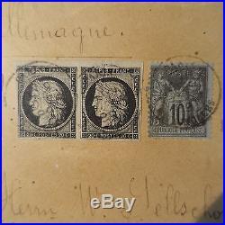 Cérès N°3 Paire + Sage N°89/97 Lettre Recommandé Tricolore Cover Allemagne Rare