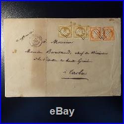 Cérès N°5 Napoléon N°9 (2 Paires) Sur Lettre Cover Pc 2407 Perpignan Pour Tarbes