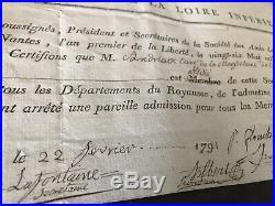 Certificat Jacobin, Société LES AMIS DE LA CONSTITUTION Nantes, Andrieux Parthenay