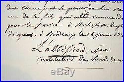 Certificat de l'abbé Sicard, directeur de l'école de sourds-muets de Bordeaux