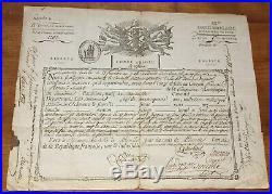 Certificat militaire Révolutionnaire Congé de Réforme Infanterie Pluviose an VI