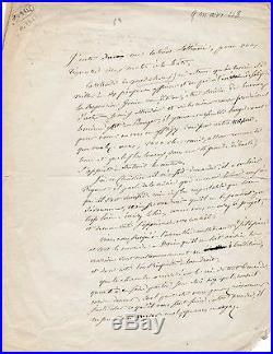 Chanson Pierre Jean Béranger lettre autographe signée 1848 révolution