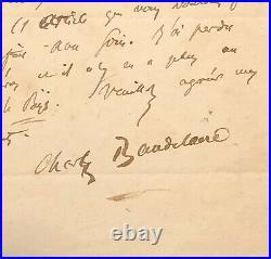 Charles BAUDELAIRE Lettre autographe signée / 1852 / Balzac
