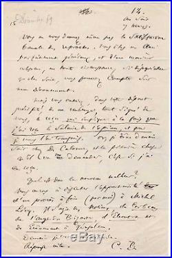 Charles Baudelaire / Lettre Autographe (1859) / Traductions D'edgar Allan Poe