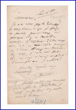 Charles Baudelaire / Lettre Autographe Signée (1863) / À Raymond Matigny